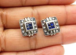 925 Sterling Silver - Vintage Petite Blue & White Topaz Stud Earrings - ... - $26.17