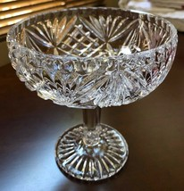 VTG Late Century Cut Crystal glass footed pedestal compote candy bowl dish - $25.25