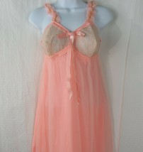 Vintage 50s Coral Pink Chiffon Chemise Nightie Nightgown Size 34 New Old... - $69.25