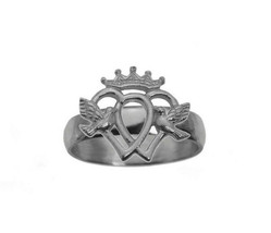 Luckenbooth Claddagh Ring Sterling Silver 925 love heart doves crown jew... - $30.60