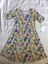 Lularoe Disney ADELINE Girls dress Sz 10 Winnie The Pooh Green Pink Blue... - $38.65