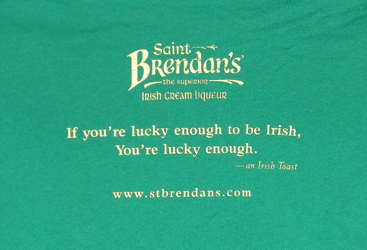WOMENS SAINT BRENDANS IRELAND IRISH CREAM LIQUEUR T SHIRT MEDIUM LUCKY IRISH