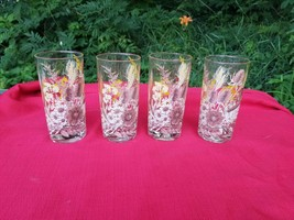 Vintage Georges Briard Barware Glasses Cattails Fall Colors Set of4 - $69.29