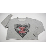 FOREVER 21 WOMENS SIZE LARGE CROPPED SWEATSHIRT GRAY FASHION IS MY RELIGION - $14.84