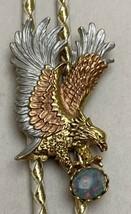 Western Bolo Tie Grabbing Flying Eagle Opal Stone Goldtone Silver Copper... - $49.50