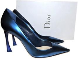 Christian Dior  Metallic Blue Pointy Toe Emblematic Dior Heel Pump Shoes... - $420.00