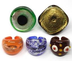 LOT OF 5 ANTICA MURRINA VENEZIA RINGS, MURANO GLASS, SIZE 5 image 2