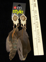 NEW Macys M Style Lab Brown Feather Dangle Earrings Rhinestone Amber Fac... - $10.88