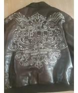 Pelle Pelle Marc Buchanan Jacket Coat 100% Leather Brown Studded Size 56... - $328.64