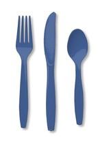 24 Piece True Blue Premium Plastic Forks, Spoons, Knives Cutlery  - 8 ea - $7.12 CAD