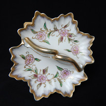 Vintage Scalloped Edge Raised Gold Tone Floral Rose Candy Nut Trinket Di... - $12.99