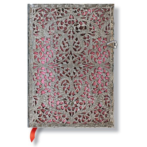Paperblanks Silver Filigree Blush Pink Midi Journal 5 X 7 Lined