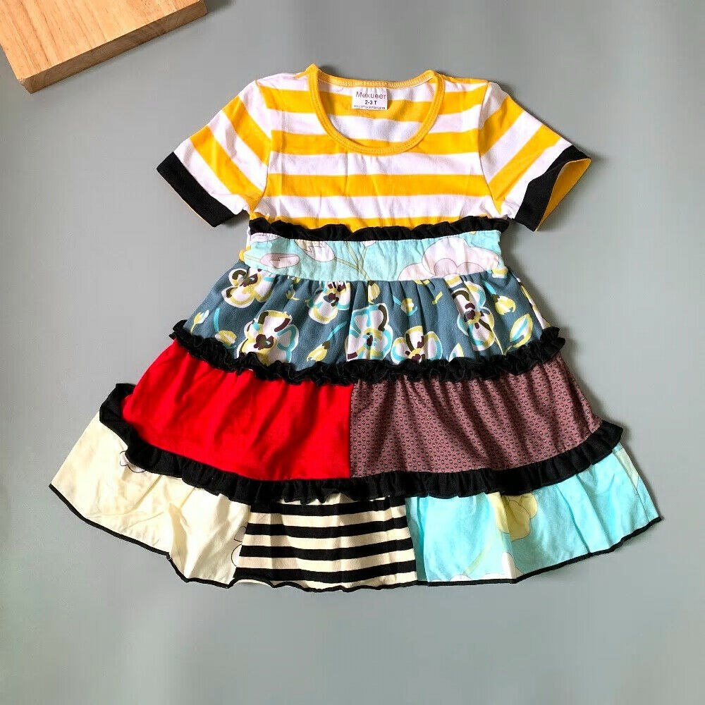 Primary image for NEW Girls Boutique Tiered Multi-Print Sleeveless Ruffle Dress 6-7 7-8