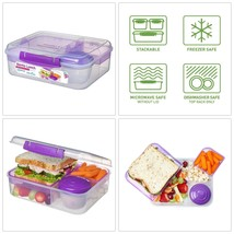 New Sistema 1.65L Bento Lunch Box Tiffin Food Container with Fruit Yogur... - $13.60