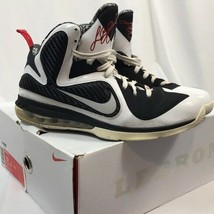 Nike LeBron 9 White, Black, Red Basketball Shoes Mens 12 with Original Box - $52.24