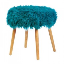 Turquoise Faux Fur Stool - $72.98