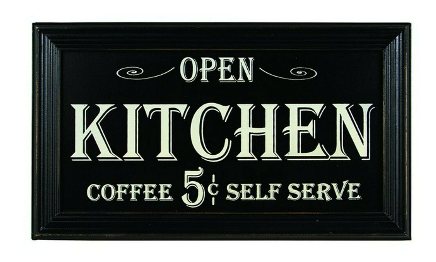 Open Kitchen Coffee Five Cents Framed Vintage Look Advertising Sign - $29.76