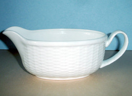Wedgwood Nantucket Basket Gravy/Sauce Boat White Embossed New - $63.90