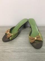 Salvatore Ferragamo Green Leather Flip Flop Med Heel Sandals Mules Shoes... - $102.54