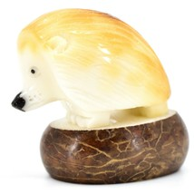 Hand Carved Tagua Nut Carving Hedgehog Figurine Made in Ecuador image 2