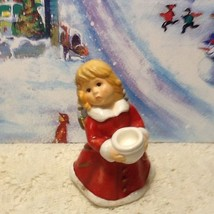 Rare Vintage Christmas Goebel Caroler Angel  Girl Figurine Red Coat Hold... - $7.95