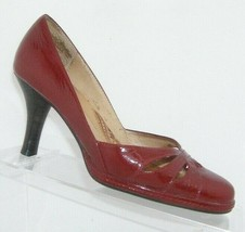 Sofft 'Gabriela' red patent leather almond toe cut out v-cut slip on heels 6M - $30.50