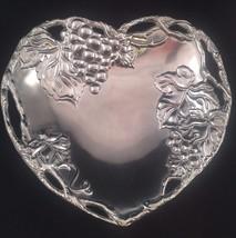 Arthur Court Grape Grapevine Heart Shape Chip Coupe Tray Platter Bowl Di... - $29.69