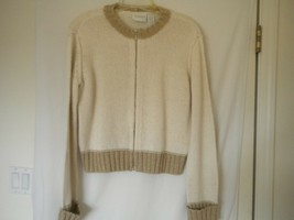 Liz Claiborne Size Medium Wool Blend Beige Tan Full Zip Women Cardigan S... - $8.90