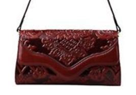New Floral Embossed Italian Leather Shoulder Bag Crossbody Handbag Clutc... - $138.55