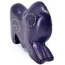 Crafts Caravan Hand Carved Soapstone Purple Lion Figurine Made in Kenya image 4