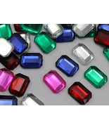 18x13mm Assorted Colors Octagon Flat Back Acrylic Jewels Gems - 100 Pieces - $14.20