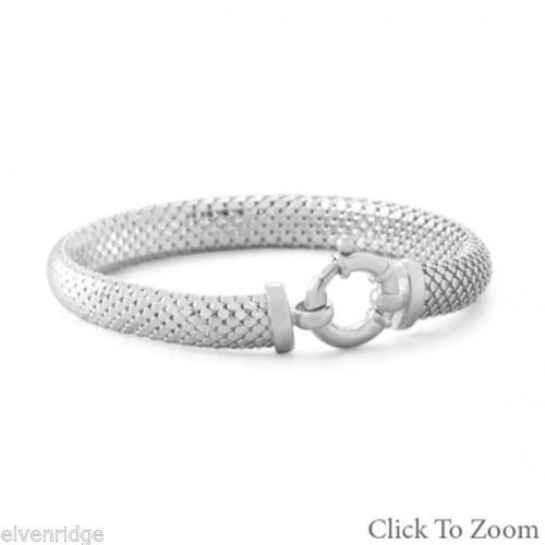 Rhodium Plated Coreana Bracelet Sterling Silver