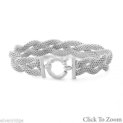 Rhodium Plated Braided Mesh Bracelet Sterling Silver
