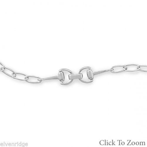 Rhodium Plated Link Bracelet with Horse Bit Design Sterling Silver