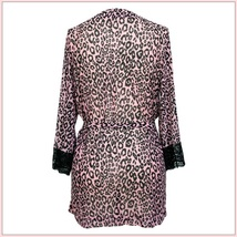 Pink Leopard Silk Chiffon Peignoir Pajama Robe or Bath Gown with Sash  image 2