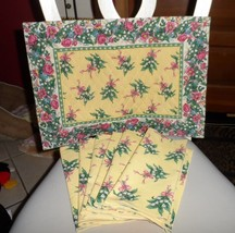 Vera Bradley cloth set of 2 placemats and 6 napkins in yellow Hope pattern - $48.00