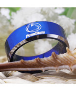 Ing customs engraving ring hot sales 8mm blue with shiny edges penn state design men 9 thumbtall