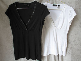 2 OF WOMEN'S JONES NEW YORK SHIRTS-BLACK MED SIZE & WHITE SMALL SIZE W/S... - $16.36
