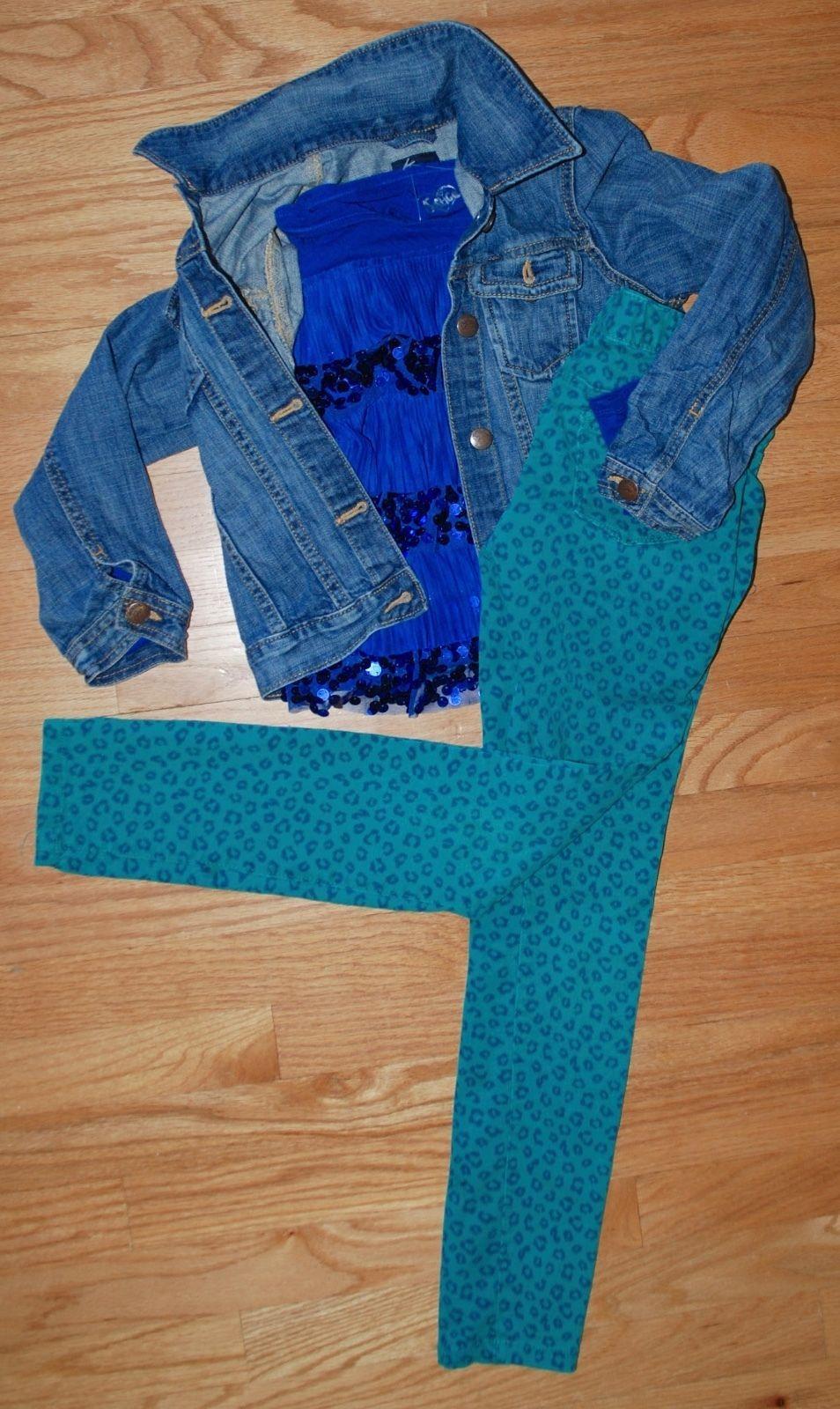 Gap Kids Outfit Set - Jean Jacket ON Leopard Skinny Jeans Jeggings + Justice Top