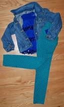 Gap Kids Outfit Set - Jean Jacket ON Leopard Skinny Jeans Jeggings + Jus... - $39.10