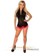 Daisy Corsets Black Lavish Satin Collard Front Zipper Corset - $105.00