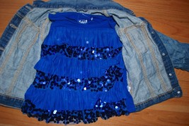 Gap Kids Outfit Set - Jean Jacket ON Leopard Skinny Jeans Jeggings + Justice Top image 3