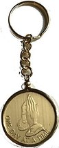 Praying Hands One Day At A Time Keychain AA Medallion Holder Gold Plated - $12.86