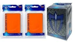 100 ORANGE Shuffle-Tech GLOSS Finish Sleeves + Deck Box (fits Magic , Force of W - $6.99