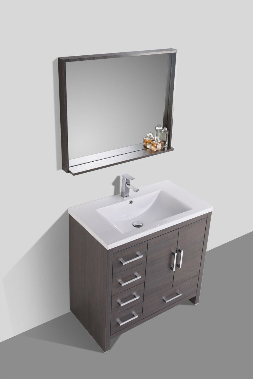 Moreno 36 Gray Oak Modern Bathroom Vanity W Acrylic Sink And Left Side Drawers Vanities