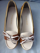 Shoes Etienne Aigner Lake Slip On Leather Boat Shoe Yellow/Brown/White 8 M New - $70.19