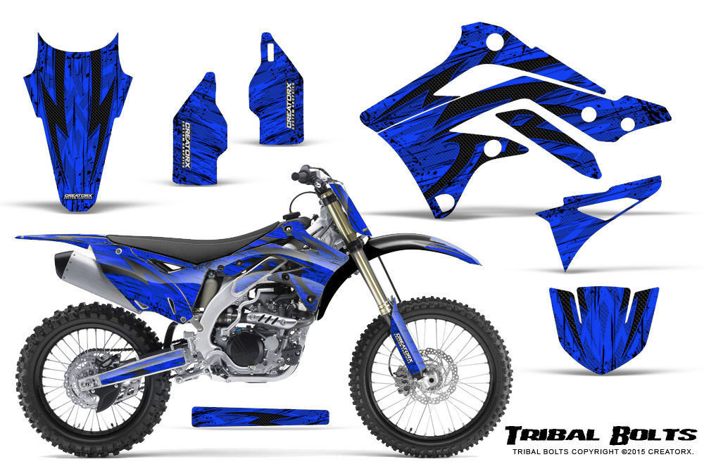 Primary image for KAWASAKI KXF450 KX450F 12-15 CREATORX GRAPHICS KIT DECALS TRIBAL BOLTS BLNP