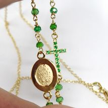 18K YELLOW GOLD ROSARY NECKLACE, FACETED EMERALD ROOT, CROSS & MIRACULOUS MEDAL image 6