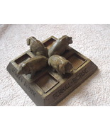 ANTIQUE CARVED WOOD ASHTRAY FERKEL BORSE FOUR PIGS FROM GERMANY - $98.96