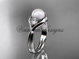 Platinum Unique Three stone pearl engagement ring VP8220 - $1,625.00